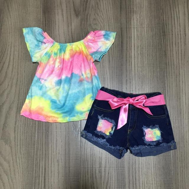 new arrivals summer baby girls ripped jeans shorts children clothes boutique tie dyed knot top Gradation Color  denims shorts