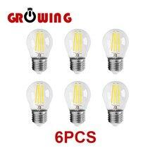 4W G45 Retro Edison bombilla de filamento E27 Bombillas 220V lámpara Vintage 6 unids/lote 4000K de vidrio claro decoración interior