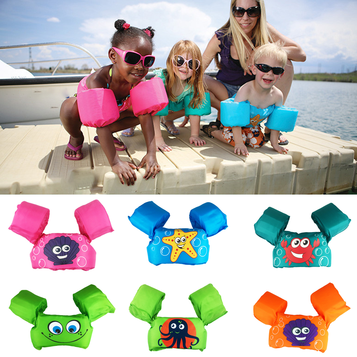 Free Shipping Children Kids Baby Float Arm Swimming Cartoon Life Float Jacket Safety Vest Swimming Pool Piscine Accessories