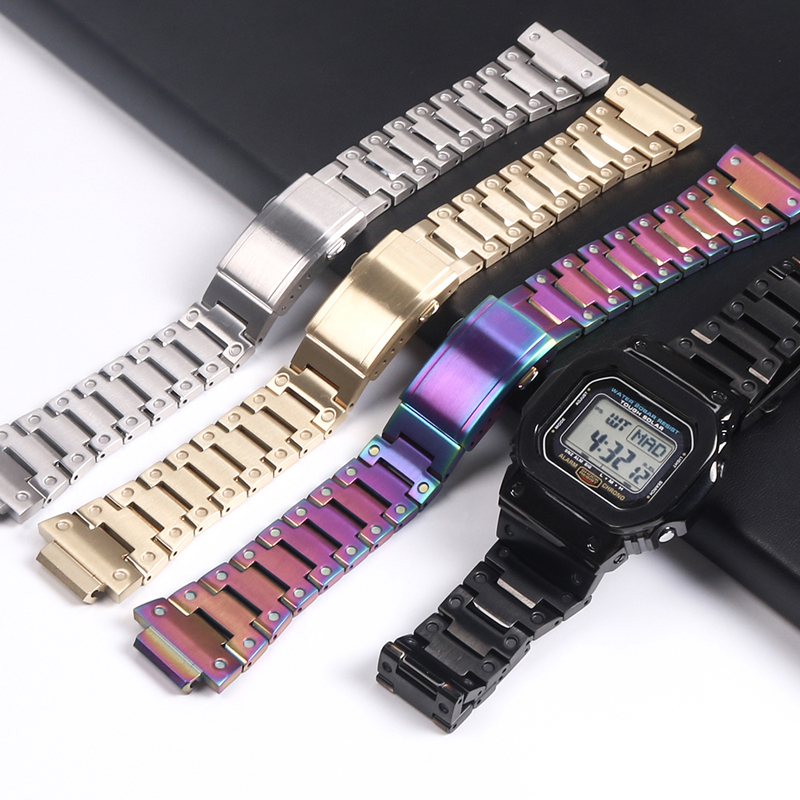 316L Stainless Steels Watch Strap For Casio <font><b>G</b></font>-<font><b>shock</b></font> <font><b>DW</b></font>-<font><b>5600</b></font> GW-<font><b>5600</b></font> DW5000/5035 Watch Case Bezel For Casio GW-M5610 Watch Band image