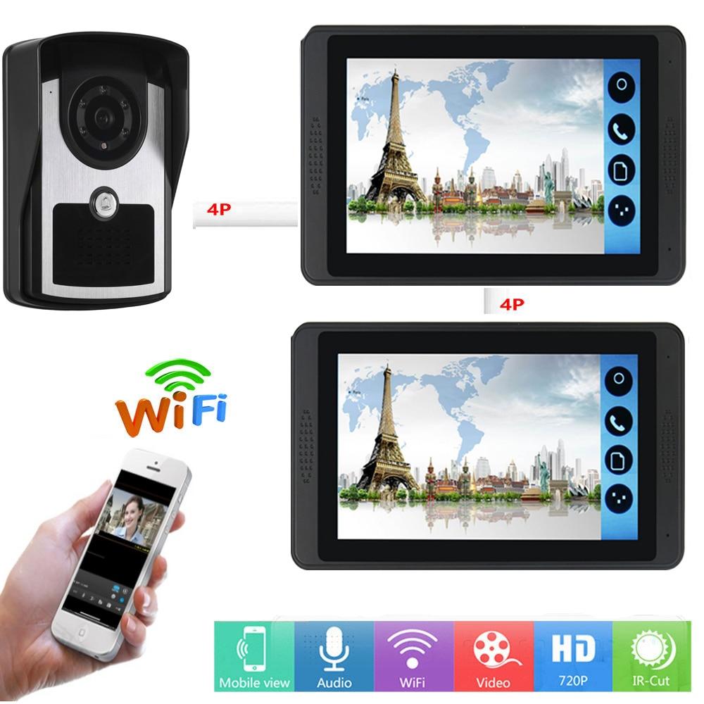APP Control Video Intercom 7 Inch Monitor Wifi Wireless Video Door Phone Doorbell Speakerphone IR Camera Intercom KIT SD Record