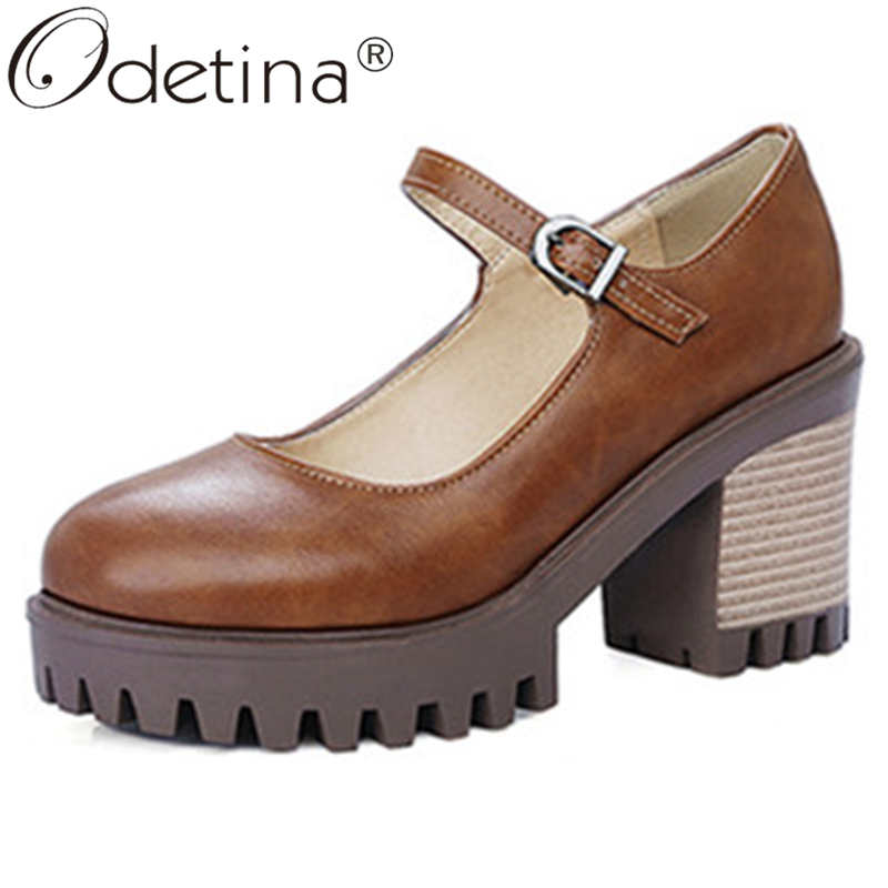 Odetina Women Fashion Sewing Buckle Strap Round Toe Mary Janes Shoes Ladies Block Extreme High Stacked Heel Platform Party Shoes