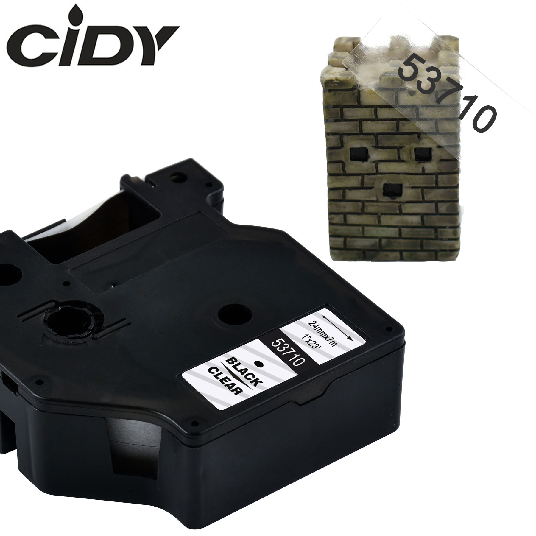 CIDY 53710 Black On Clear Compatible Dymo D1 24mm Label Tape Ribbons Cassette For Dymo Label Manager 160 280 210