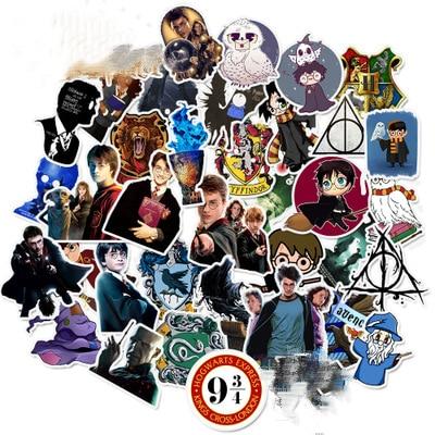 50Pcs Harri  Potter Stickers For Laptop Guitar Motocycle Luggage Skateboard Doodle Decor Sticker Toy