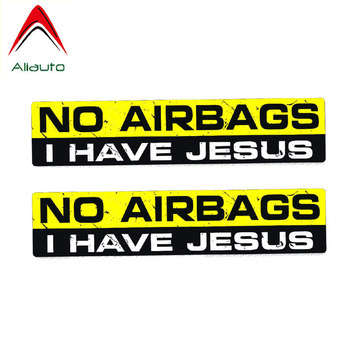 Aliauto 2 X Interesting Car Sticker No Airbags I Have Jesus Personality Decal PVC for Opel Seat Nissan Suzuki Peugeot,15cm*3cm image