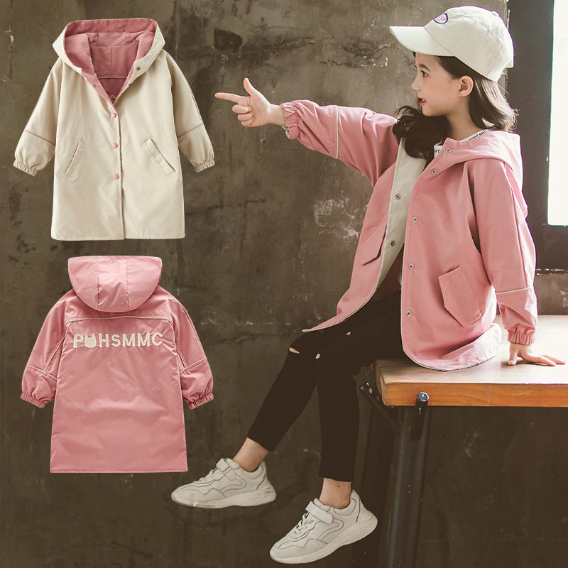 Kids Girls Trench Coat Hoodies Jacket 4 6 8 10 <font><b>12</b></font> <font><b>13</b></font> Years Teenage Girls Clothing Double-Sided Coat Autumn Outerwear Children image