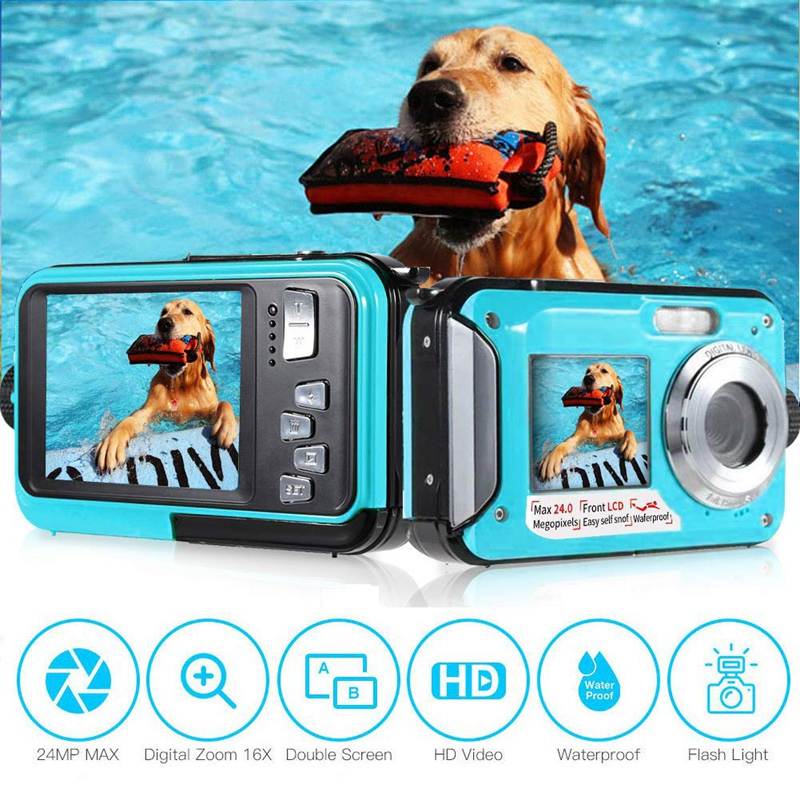 ABKT-Underwater Camera 24.0MP Waterproof Digital Camera Full HD 1080P Self-Timer Dual-Screen Video Recording Waterproof Camera f