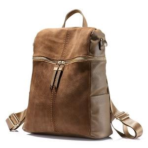 Image 3 - Vintage brand women backpack nubuck leather PU school backpacks for teenage girls large capacity shoulder bags for women 2019