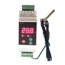 Controlador do alarme da temperatura da saída do relé do termostato 2 vias do trilho do ruído de ac90 260v