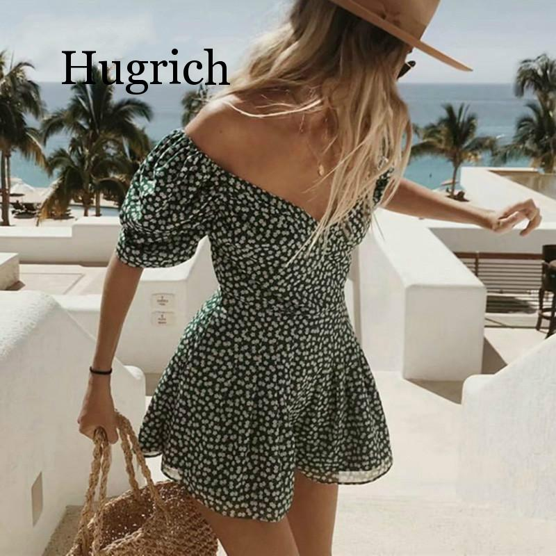 Summer <font><b>dress</b></font> 2020 <font><b>boho</b></font> korean off shoulder <font><b>beach</b></font> <font><b>dress</b></font> <font><b>elegant</b></font> kawaii green vintage floral <font><b>sexy</b></font> v neck mini <font><b>dress</b></font> vestidos image