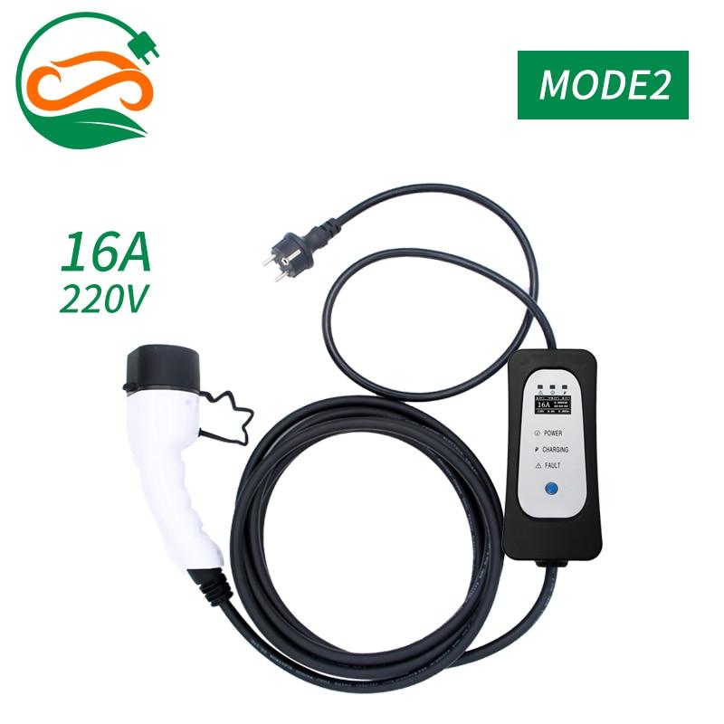 Adjustable EVSE 62196-2 Type2 EV charger 16A EV Adjusatble Current Single phase Car Charger EVSE controller with schuko plug 5m