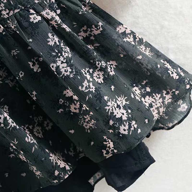Aachoae المرأة الكشكشة ربطة القوس فيونكة فستان قصير الأزهار طباعة خمر كم طويل عادية فضفاض مطوي فستان الكشكشة فستان حفلة Vestidos