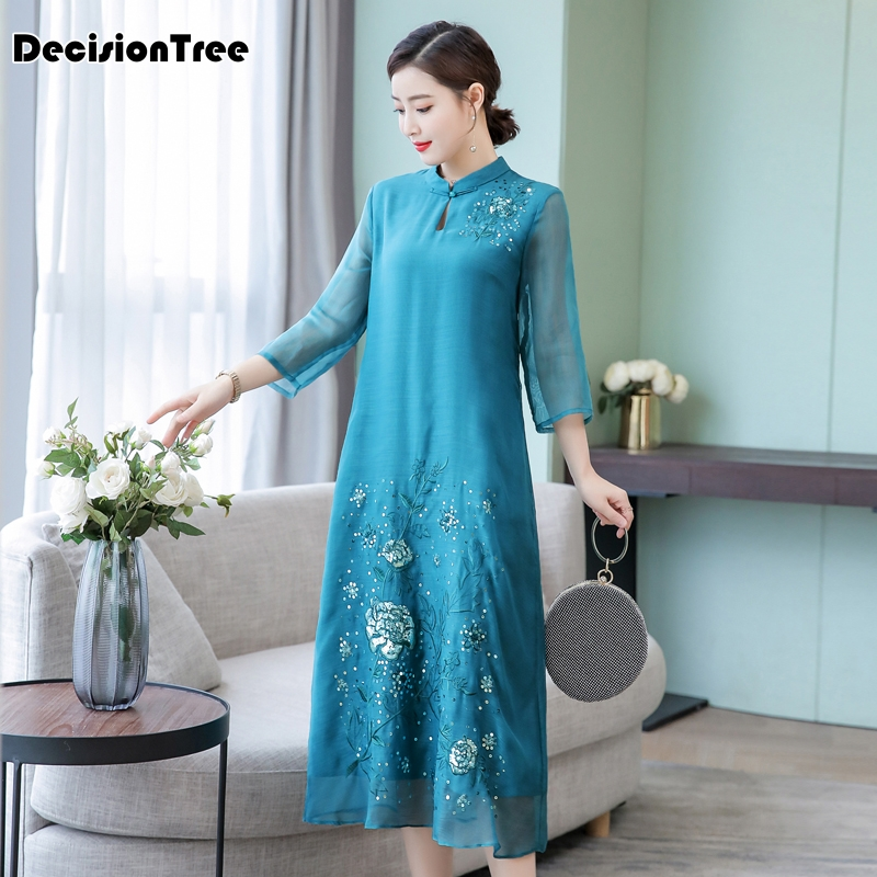 2019 White Aodai Vietnam Dress For Women Traditional Clothing Dress Knee Length Oriental Dress Chinese Style