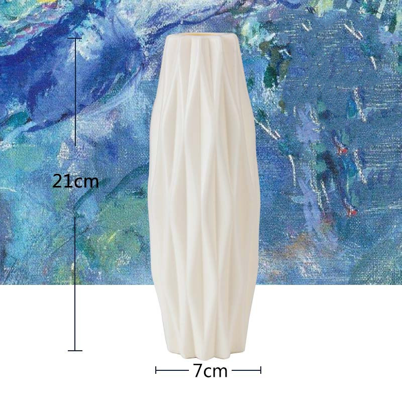Оригами пластиковая ваза молочно-белая имитация керамического цветочного горшка Цветочная корзина Цветочная ваза для украшения интерьера скандинавские украшения - Цвет: 3219-Milky