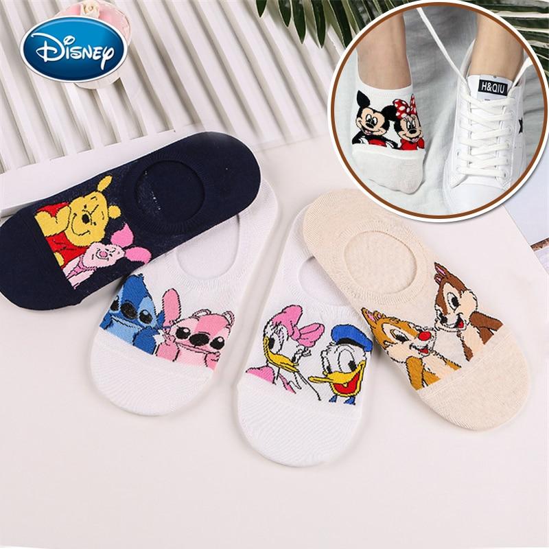 Disney Women Socks Cartoon Animal Mouse Socks Cute Kawaii Funny Ankle Socks Invisible Silicone Slip Socks Girl Cotton Boat Sock