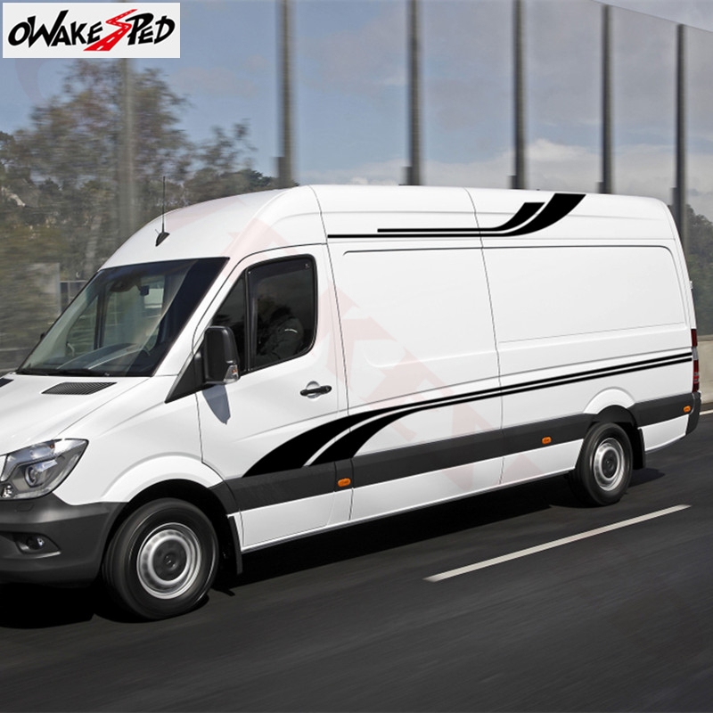 1Set Car <font><b>Stickers</b></font> <font><b>Motorhome</b></font> Stripes Camper Van Vinyl <font><b>Decals</b></font> Auto Body Waist Line Decor <font><b>Decals</b></font> For Mercedes-Benz Sprinter image