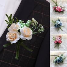 Модная бутоньерка/цветок на запястье искусственный цветок ленточная брошь бутоньерки Свадебные вечерние украшения Свадебные аксессуары