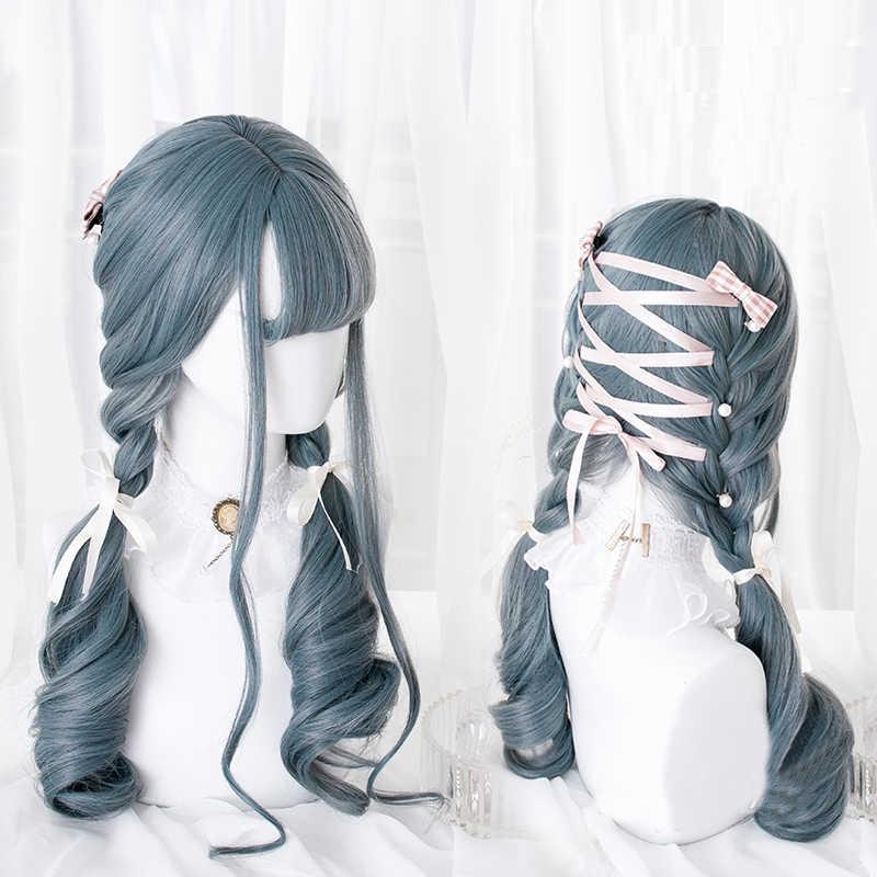 Azul mezclado gris Lolita peluca Harajuku Cosplay Bangs cuerpo onda rizado largo dulce pelo sintético para niñas adultas