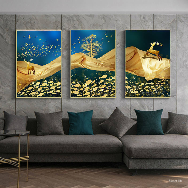 Abstract Geometric Mountain Sun landscape Canvas Paintings Wall Art Pictures