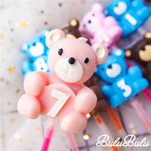 Bear Digital Candle 0-9 Number Smokeless birthday candles for baby show Boy Girl kids anniversary cake decorating baking tools