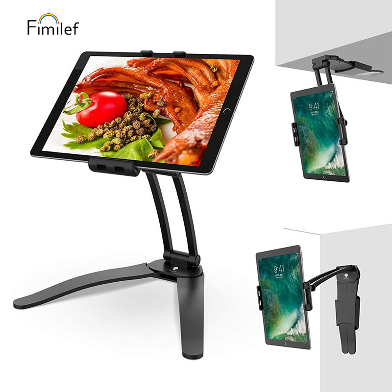 FIMILEF Tablet Stand Wall Mount Adjustable Stand 2-in-1 Kitchen Wall/Desktop For IPad Air Mini IPhone XS Desk Tablet Stand