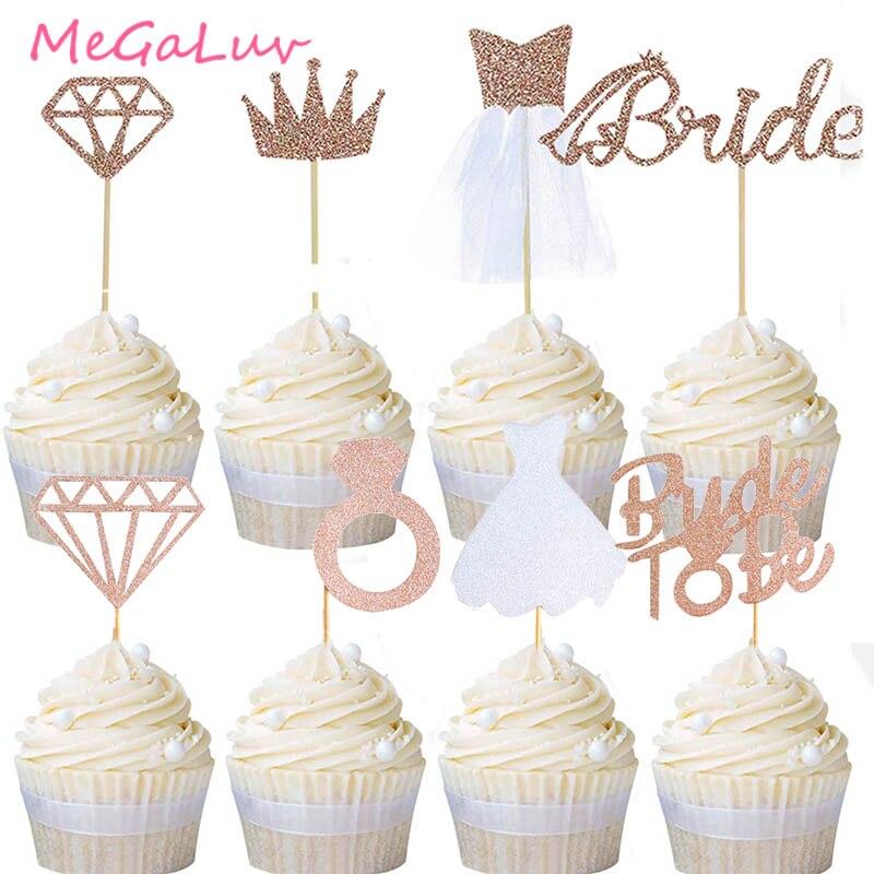 24 unidades/juego de adornos para tartas de novia, oro rosa, corona de lentejuelas, diamantes, magdalenas, adornos para tartas de fiesta