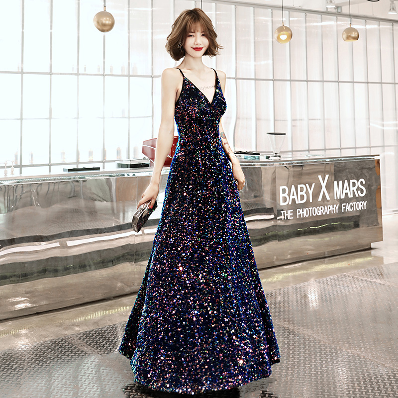 AE508 2019   Evening     Dresses   Long Sexy Deep V-neck Backless Sequined Sparkle New Formal Party Gowns