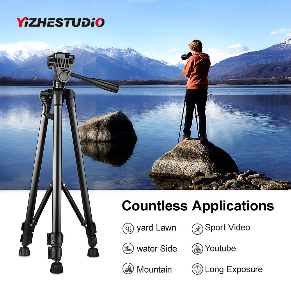 Yizhestudio Protable Camera Tripod for phone Canon Nikon Sony DSLR Camera Camcorder 50-140 cm Universal Adjustable Tripod Stand