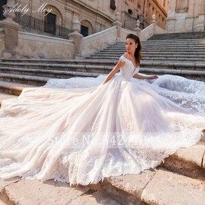 Image 3 - Adoly Mey Glamorous Appliques Lace Court Train A Line Wedding Dresses 2020 Luxury Boat Neck Beaded Princess Bride Gown Plus Size