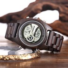 Shifenmei עתיק טבעי דיגיטלי גברים שעונים LED תצוגת חקוק עץ זוהר יד בני שעונים מותג זכר נקבה