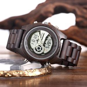 Image 1 - Shifenmei antigo natural digital men relógios led display gravado de madeira luminosa mão meninos relógios marca masculino feminino
