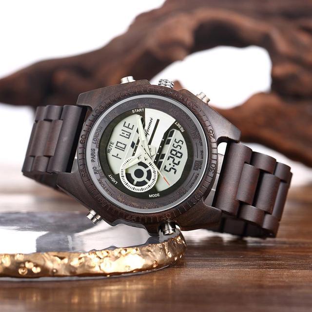 Shifenmei antigo natural digital men relógios led display gravado de madeira luminosa mão meninos relógios marca masculino feminino