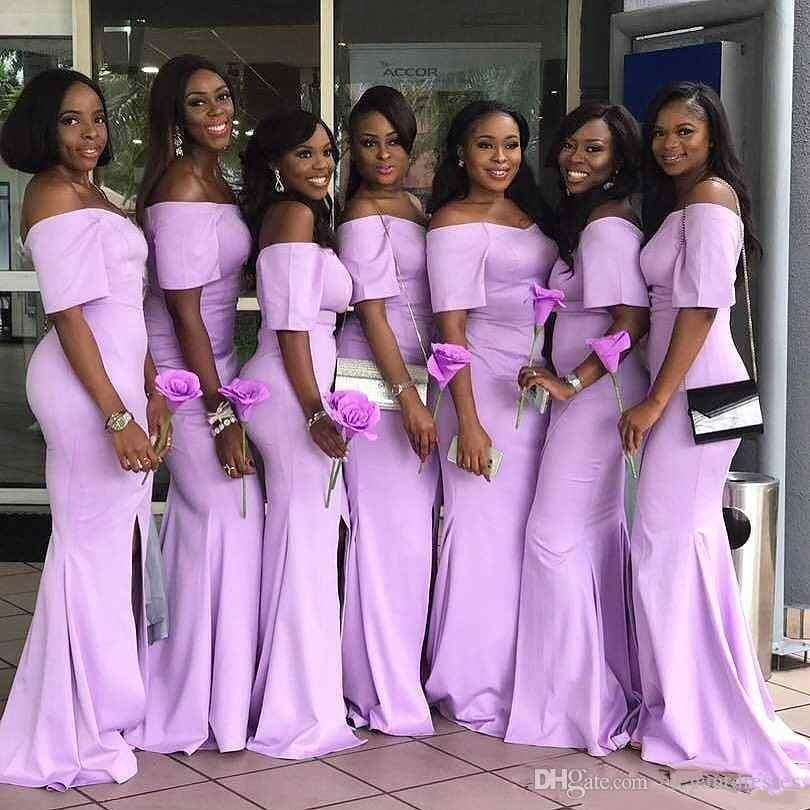แอฟริกันชุดเจ้าสาวลาเวนเดอร์ปิดไหล่แขนสั้นชุดสำหรับงานแต่งงานชุด Vestidos De Festa