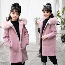 CYSINCOS Autumn and Winter Big Child Outfits Girl Jackets New 2018 Korean Tide Clothes Kids Girls Hooded Long Coat Woolen Coats