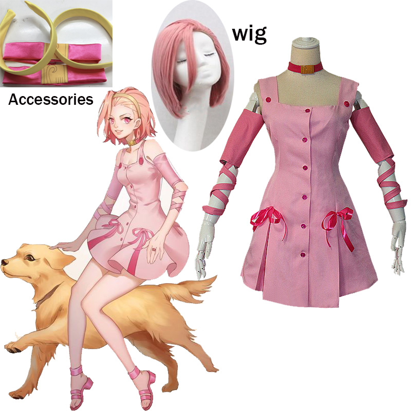 2019 JoJo's Bizarre Adventure movie Sugimoto Reimi Cosplay Costume pink dress with accessory for Halloween Carnival Party image