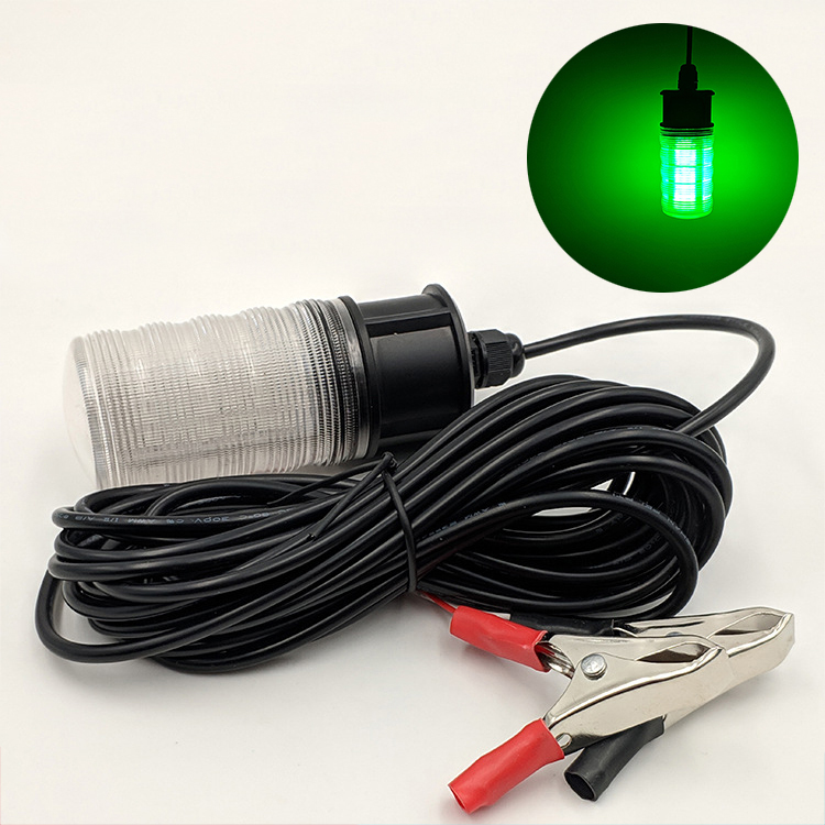 12V Fishing Light LED Fishing Light Fish Detection System 10W Green LED Luminous Bait Fish Light