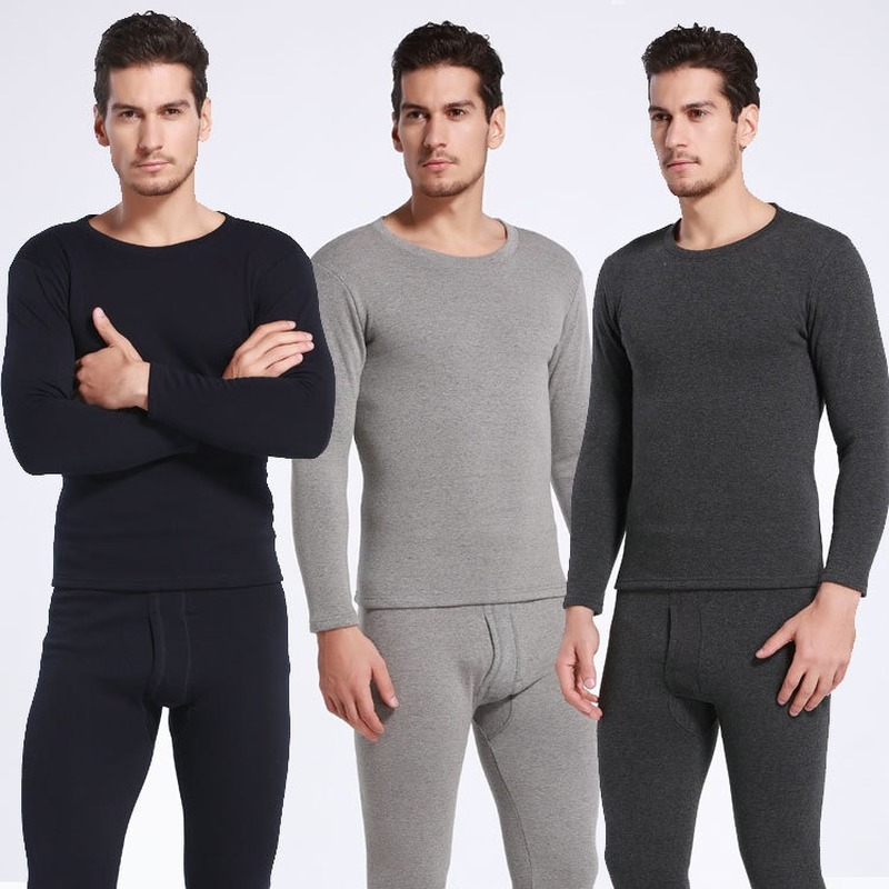 2020 Winter New Thermal Underwear Plus Velvet Thickening Suit Men's Round Neck Slim Solid Color Autumn Clothes Long Trousers