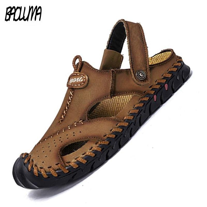 Classic Men's Sandals Summer Genuine Leather Men Slippers Roman Designer Men Beach Sandals Soft Comfortable Man Outdoors Shoes
