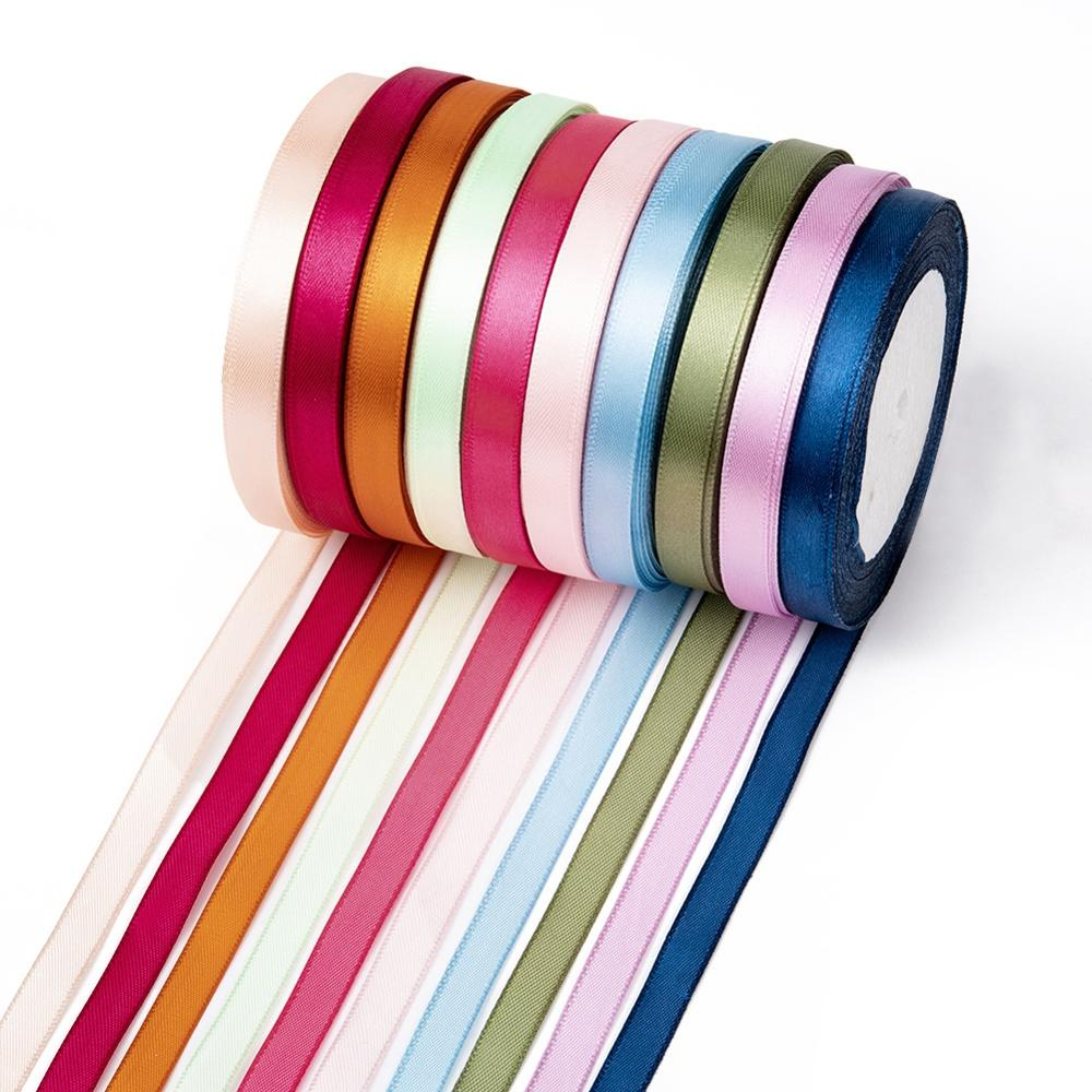 10 Rolls Satin Ribbon Mixed Color Wedding Party Craft Ribbon 25yards//roll