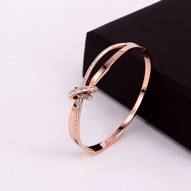 Classic Design Cross Semicircle Zircon Bracelet Bangle For Women Stainless Steel Gold Rose Silver Color Jewelry Wholesale BG34