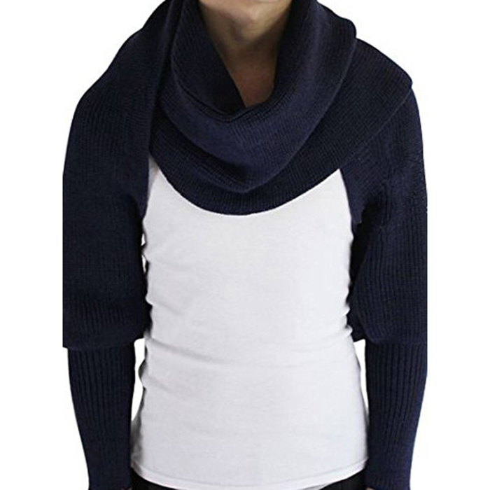 Navy Blue - Knitted Wrap Scarf With Sleeves | GoInsShop
