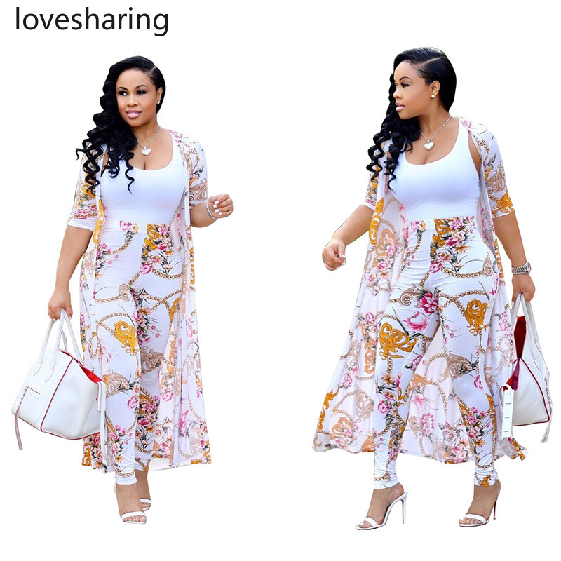 Summer 2 Piece Set Women Cardigan Long Trench Tops And Bodycon Pant Suit Casual Clothes Boho Sexy Two Piece Outfits 2020