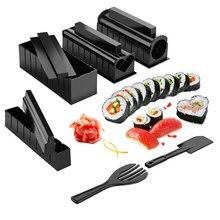 10 Pçs/set Fabricante de Equipamentos de Sushi Japonês Kit Molde Bola de Arroz Molde Do Bolo de Rolo Multifuncional Household DIY Fazer Ferramentas de Sushi