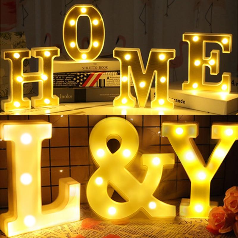 16/21cm diy 3d carta luz alfabeto carta lâmpadas led lâmpada decoração da festa de casamento exibição luz da noite presente natal|Letras e números decorativos|   -