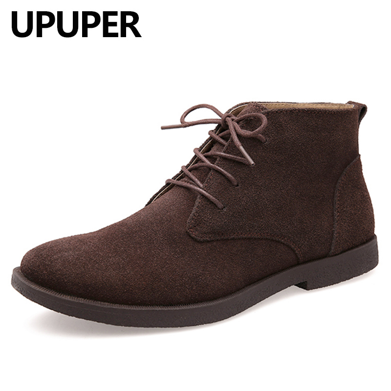 Suede Leather Men's Winter Boots Classic Fashion Ankle Boots Men Cow Suede Winter Shoes Men Big Size:37-47
