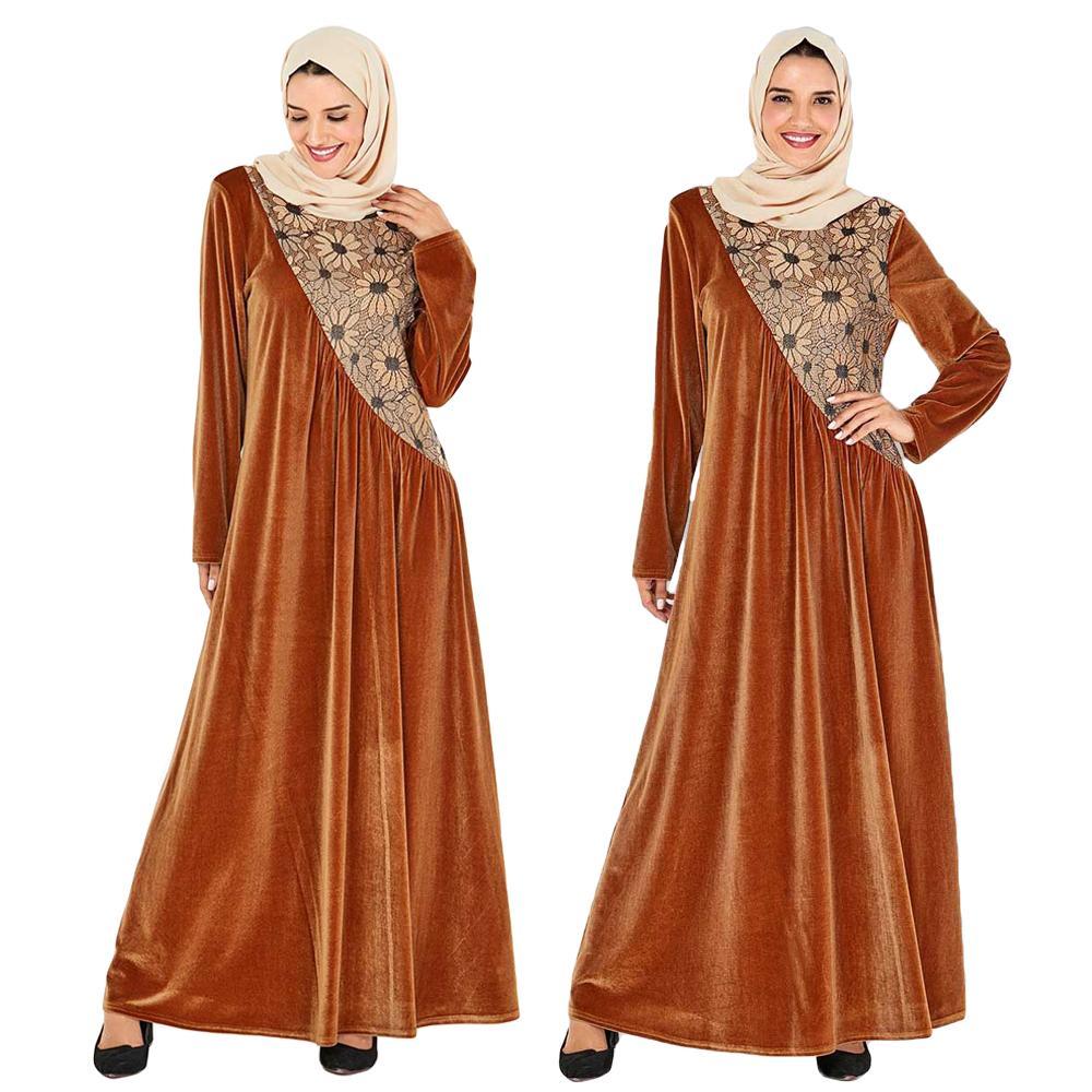 Dubai Velvet Abayas Women Muslim Abaya Embroidery Flower Turkish Dresses Islamic Clothing Arab Caftan Marocain Robe Gown Kaftan