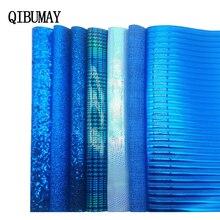 Hair-Bow Decoration Faux-Leather-Accessories QIBU Materials Fabric Glitter Blue DIY PU