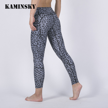 Kaminsky Sexy Leopard Trousers Women Patchwork Printing Legging With Pocket Push Up Fitness Pant Leggings Workout Sports Legging image