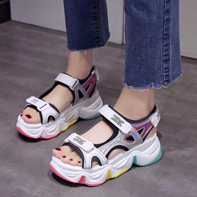 JXANG קיץ פלטפורמת נשים סנדלים סקסי חלול פתוח הבוהן פלטפורמת נעלי נשים נעליים יומיומיות גבירותיי חוף נעליים