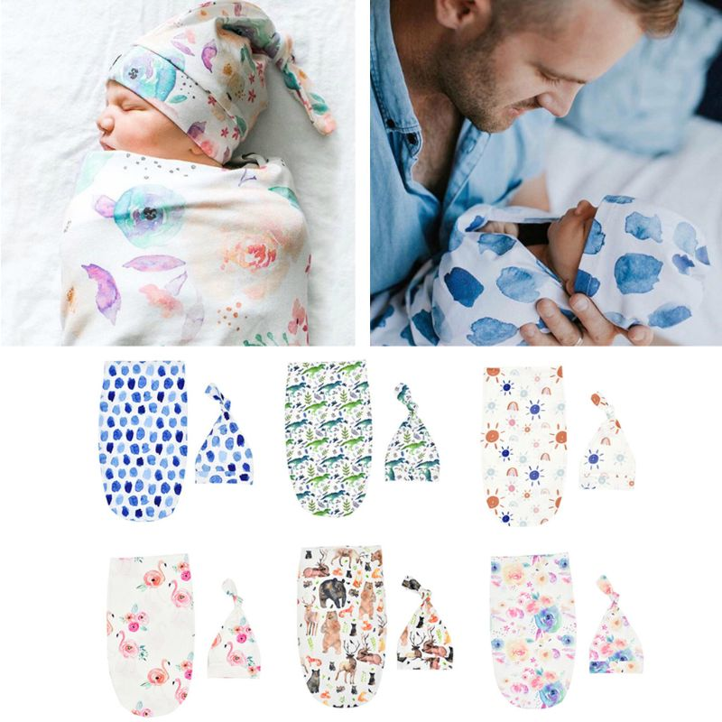 Newborn Photography Prop Baby Blankets Printed Newborn Infant Baby Boys Girls Sleeping Swaddle Muslin Wrap +Hat 2PCS